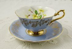 Royal Albert Blue Tea Cup and Saucer with Yellow Flowers and Gold Chintz, Vintage Bone China