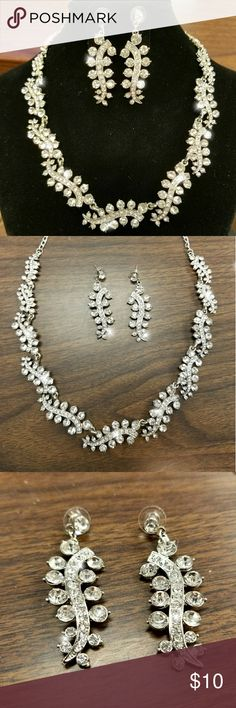 """SALE LAST PRICE  Beautiful bling necklace Beautiful silver bling necklace with earrings ♥️    Necklace bling bling 33"""" Earrings 5 1/2""""  New !!!! fashion jewelry Jewelry Necklaces"""