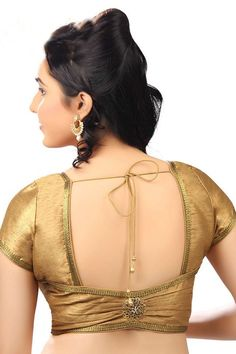 Dull #gold casual wear raw #silk radiant #blouse with back pot neck -BL688