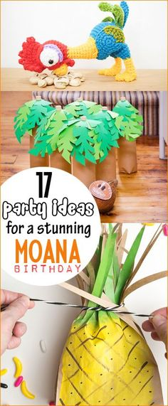 Moana Birthday Party Ideas. Luau and Hawaiian themed parties for all ages. Moana party favors, décor and food. Heart of Te Fiti, Tamatoa, Hei Hei and Maui.