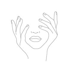 Minimal Line Art Woman With Hands On Face Comforters by Nadja - Twin XL: x Minimal Drawings, Simple Line Drawings, Art Drawings, Drawing Designs, Face Outline, Outline Art, Flower Outline Tattoo, Hands On Face, Face Line Drawing