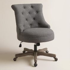 One of my favorite discoveries at WorldMarket.com: Charcoal Elsie Upholstered Office Chair