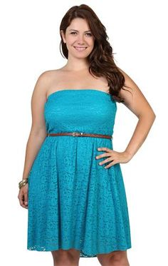 Deb Shops plus size floral lace dress with strapless tube and brown leather belt waist $32.17