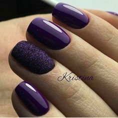 Purple with matte sparkle deep violet nails
