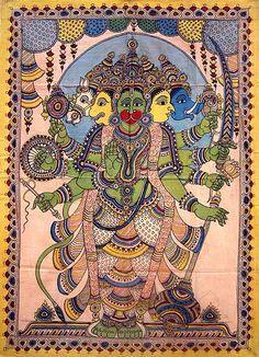 Panchamukhi Hanuman Kalamkari painting (via Columbia University) Kalamkari Painting, Madhubani Painting, Into The West, Madhubani Art, Indian Folk Art, Hindu Art, Fashion Painting, Indian Gods, Mural Painting