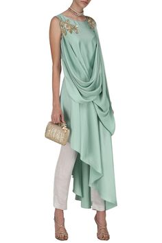Mint green embroidered asymmetrical hem tunic with trousers available only at Pernia's Pop Up Shop. Mint Green Embroidered Asymmetrical Hem Tunic with Trousers Indian Designer Outfits, Indian Outfits, Designer Dresses, Drape Gowns, Draped Dress, Ethnic Fashion, Indian Fashion, Drap Satin, Stylish Dresses