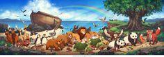 Noahs Ark wall mural by @JamesNgArt #NoahsArk #Mural
