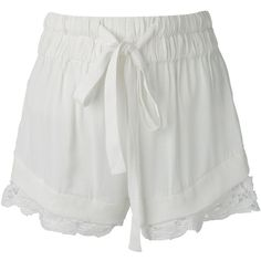 Iro Lace Trim Shorts (€72) ❤ liked on Polyvore featuring shorts, bottoms, pants, white, white shorts, iro shorts and lace trim shorts