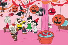 Description: Dancing and having fun, the Peanuts gang is at a Halloween party in…