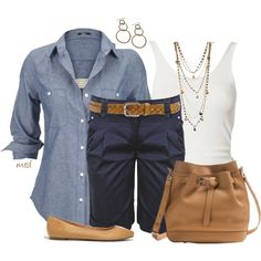 #summer #outfits / Broadcloth Shirt + Blue Casual Shorts