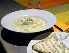 Salmon soup and Lappish bread called Rieska in Pörröporo Café in Juoksenki Village at the Arctic Circle in Pello - Travel Pello - Lapland, Finland Salmon Soup, Lapland Finland, Arctic Circle, Deli, Cheeseburger Chowder, Bread, Food, Breads, Baking