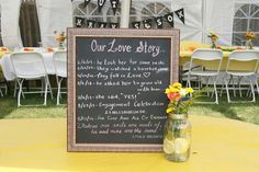 Engagement party chalkboard. Such a great way to add personalization