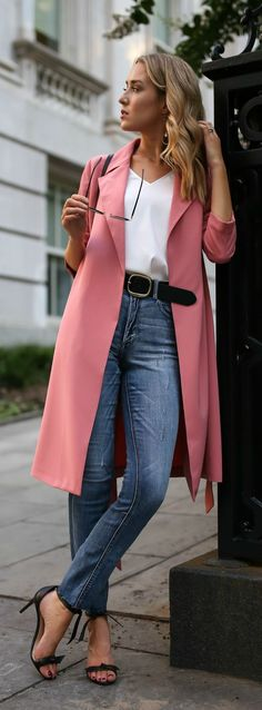 Pink trench coat, silk v-neck blouse, blue high waisted jeans, black ankle strap sandals {Express, Alexandre Birman, casual Friday, creative office style}
