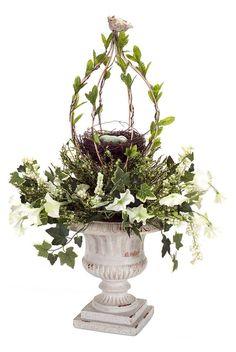 Loving this Morning Glory & Nest Urn Arrangement on