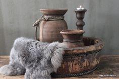 Oude ronde houten bak 45 cm