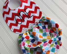First Birthday Outfit Bib and Diaper Cover Set by mylittlemookie, $32.00