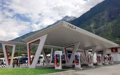 And the future is here: Tesla-Supercharger-station, Aosta, Italy. The Amazing Architectural Evolution of the Filling Station