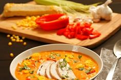 Hot Chilli Corn Chowder.  This one has a kick to it depending on how many chilli peppers you use, so adjust to your taste preferences. It also has a wonderful creamy base and great flavour. http://www.countrygrocer.com/recipe/hot-chilli-corn-chowder/