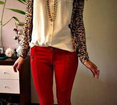 red pants, cheetah and gold accessories