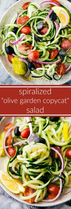 A super simple cucumber salad with spiralized cucumbers, tons of veggies, and an easy Olive Garden copycat dressing.