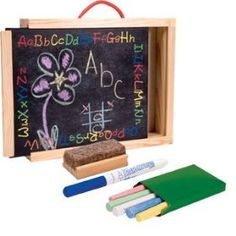 Schylling Chalkboard Briefcase by Schylling. $19.99. For ages 3+. Includes colored chalk, eraser & wipe-off pen. Corded carrying handle for on-the-go fun!. Chalk board on one side, wipe-off board on the other!. Slide open chalk board for sturdy wooden chalk & marker storage!. The best of both worlds! One side is a dry erase board and the other a chalkboard! includes box of colored chalk, a dry erase marker, eraser, and a sliding lid so all the supplies and drawings can be s...