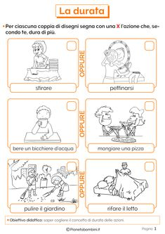 La Durata del Tempo: Schede Didattiche per la Scuola Primaria | PianetaBambini.it Italian Words, Italian Language, Learning Italian, New Years Eve Party, Kids And Parenting, Elementary Schools, Pixel Art, Kindergarten, Bullet Journal