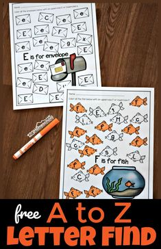 Free A to Z letter find worksheets - SUPER CUTE free printable alphabet worksheets perfect to help preschool and kindergarten students practice letter recognition of uppercase and lowercase letters. Each worksheet has a fun theme that appeals to kids. Preschool Letters, Preschool Learning Activities, Alphabet Activities, Preschool Worksheets, Learning Letters, Kindergarten Letter Activities, Alphabet Bingo, Free Preschool, Teaching Resources