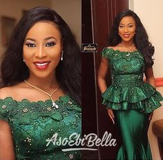 Nigeria Style 2019 Bateau Neck Evening Dresses With Flora Appliques Crystal Mermaid Emerald Green Formal Occasion Prom Dresses Custom Diyanu - Aso Ebi Styles African Lace Styles, African Lace Dresses, Latest African Fashion Dresses, African Dresses For Women, African Print Fashion, African Attire, African Style, Lace Skirt And Blouse, Lace Gown Styles