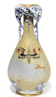 A Riessner, Stellmacher & Kessel gilt decorated porcelain Moth vase ca 1900