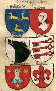 «Augsburgisches Wappenbuch des Sigmund Gossembrot, Bürgermeisters von Augsburg», [S.l.], 1469 [BSB-Hss Cgm 98] -- Bildnr.6