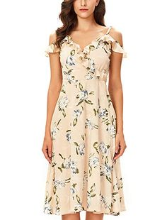 4f1255d551 Noctflos Women's Floral Chiffon Summer Cold Shoulder Cocktail Party Midi  Dress (X-Small,
