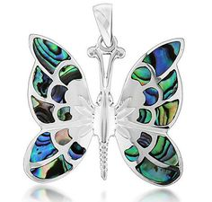 TUSCANY SILVER Sterling Silver Pave Shell Butterfly Pendant.  MRRP: £75.00GBP - AVI Price: £29.99GBP