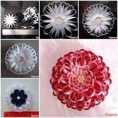 DIY Narrow Satin Ribbon Flower 1