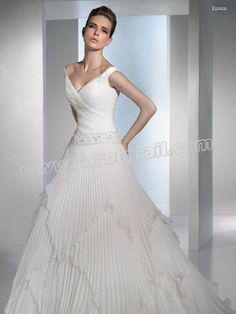 A-Line Sexy V-Neck with Chapel Train Wedding Dress