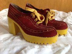 Womens Vintage Di Orsini Italy Platform Shoes 1970s Disco Sz 6 Amazing | eBay