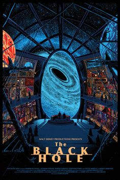 The Black Hole poster by Kilian Eng for a Disney-themed show . Science Fiction Art, Disney Artwork, Art Show, Artwork, Alternative Movie Posters, Poster, Disney Posters, Mondo Posters