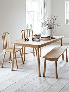 Made from solid oak, our simple, Scandinavian style table will add a touch of true elegance to your interior. It has a soft mellow oak finish and subtle wood grain, and works beautifully both with dining chairs and with bench style seating. To recreate our look, complete the collection with our Bergen Oak Dining Chairs and Bergen Oak Bench. Also available as a dining set.