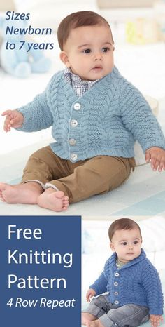 Free Baby and Child Cardigan Knitting Patterns Sirdar 4782 Cable cardigan in baby and child sizes knit with a 4 row repeat cable and garter ridge pattern. Options for V Neck and Shawl Collar. Sizes 0-6 Months, 6-12 Months, 1-2 Years, 2-3 Years, 4-5 Years, 6-7 Years. Sirdar 4782. Aran weight yarn.