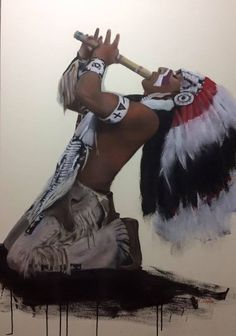 Native American Musician, Alexandro Querevalú. Painted by Misako Okimura, of Japan