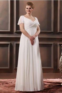Elegant Plus Size Wedding Dresses with A-line V-neck Floor-length Chiffon P20150302