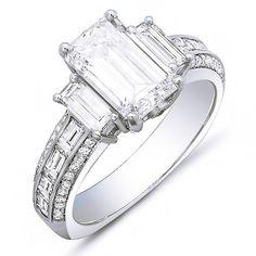 Trendy Diamond Rings :    4.23 Ct. Emerald Cut, Baguette & Round Diamond Engagement Ring G,VS1 EGL – Emerald Cut & Baguette Diamond Engagement Ring  - #Rings https://youfashion.net/wedding/rings/diamond-rings-4-23-ct-emerald-cut-baguette-round-diamond-engagement-ring-gvs1-egl-e/