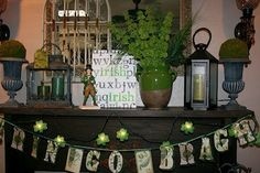 st. patrick's mantel | St. Patrick's Day mantle