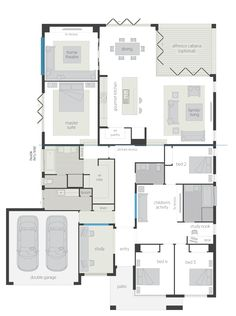 San Marino Executive Floor Plan - perfectly sculpted and flawlessly balanced home in tune with the desires and specific needs of modern families. New House Plans, Dream House Plans, House Floor Plans, Home Design Floor Plans, Plan Design, House Blueprints, Family Room Design, House Layouts, House Goals