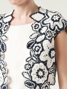 Outstanding Crochet: Floral knit cardigan from OSCAR DE LA RENTA.