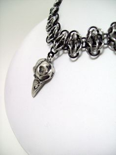 Chainmaille choker bird skull Gothic by Eternalelfcreations, $30.00 see their online store here: www.etsy.com/shop/eternalelfcreations