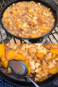 Easy Campfire Peach Cobbler Recipe How to make the easiest peach cobbler recipe with canned peaches and homemade pie crust crumbled on top. One of our favorite cast iron skillet camping recipes! Campfire Desserts, Campfire Food, Campfire Recipes, Dutch Oven Cooking, Dutch Oven Recipes, Dutch Oven Desserts, Pie Iron Recipes, Iron Skillet Recipes, Pizza Recipes