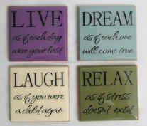 DIY Coasters.  Paint 4x4 tiles with acrylic paint, apply vinyl phrases, seal and add cork or rubber feet to the bottom.  Tutorial from Mangelsens.