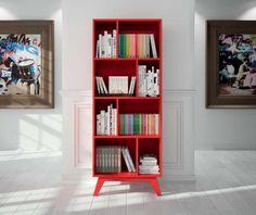 Estantería de diseño moderno. Perfecta para cualquier estancia, de un tono rojo intenso, perfecto para aportar un toque de color.  Medidas: 180x70x40.5 CM