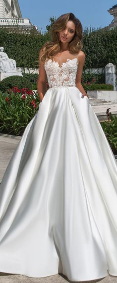 Wonderful Tulle & Satin Bateau Neckline A-line Wedding Dress With Beaded Lace Appliques & Pockets