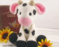 cow, cow doll, crochet cow, cow stuffed animal, cow plush, cow toy